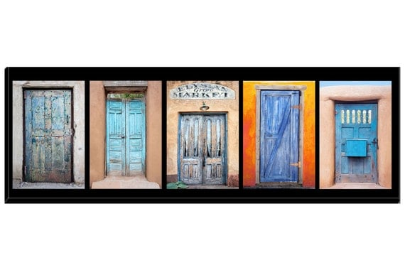 Like this item?  sc 1 st  Etsy & Group of colorful Southwest blue painted wood doors on canvas. pezcame.com