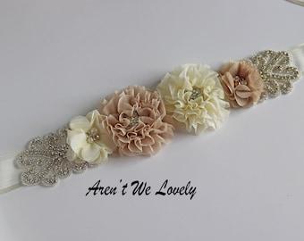 tan flower belt, blush  sash, champaign bridal belt, bridal belt, bridesmaid belt, maternity belt, maternity sash, belt, belts and sashes