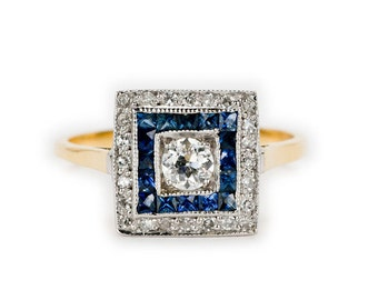 Art Deco Sapphire & Diamond Target Ring. 18ct yellow gold. Circa 1930's.