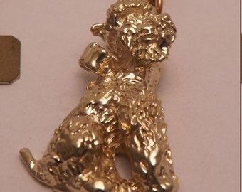 14k Gold Vintage  Poodle  Dog  Charm Pendant