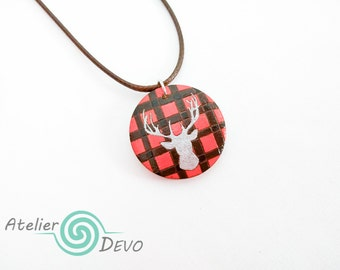 Wooden buck necklace, silver deer jewel, colorful round pendant, red and black plaided necklace, brown necklace, gift, wood burning