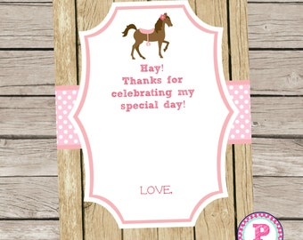 Pony Birthday Party Thank You Cards Hay Ideas Pink Polka Dot Farm Cowgirl Horseback Riding Printable Horse 5x7