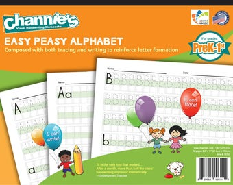 Channie's Easy Peasy Alphabet handwriting workbook for Prek-1st