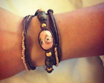 Brown hemp, beaded wrap bracelet