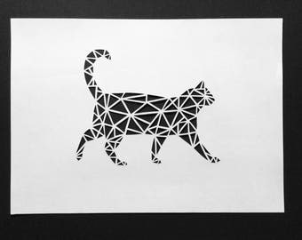 Geometric cat papercut