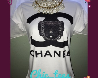 Black fashion handbag t-shirt
