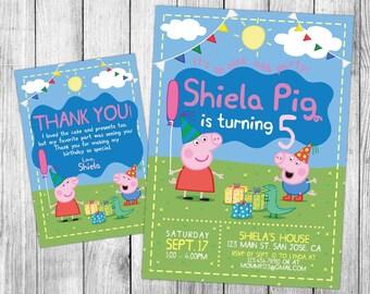 Peppa Pig Invitation, Peppa Pig Birthday, Peppa Pig Invite, Peppa Pig Party, Printables, Peppa Pig Custom, FREE 4x6 Thank You Card