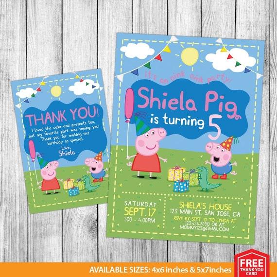 Peppa Pig Invitation Peppa Pig Birthday Peppa Pig Invite