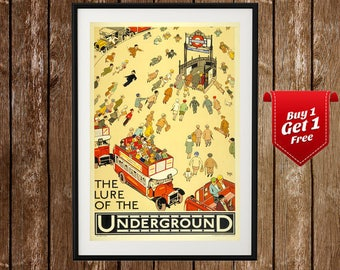 London Underground Vintage Print - Vintage London Poster, London Poster Prints, London Travel Poster, UK Railways, Tube, London Art Print