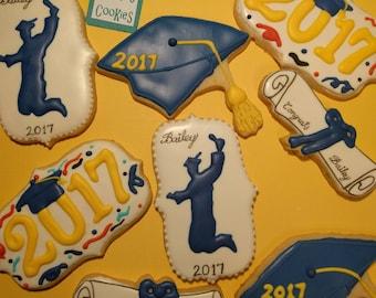 Graduation Cookies, Personalized Cookies, Favor Cookies, Congrats Cookies