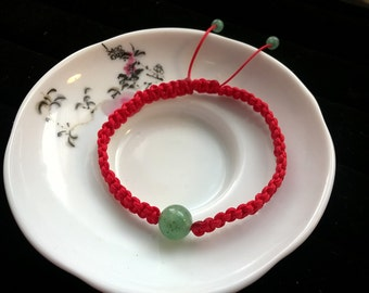 Lucky Chinese Red String Bracelet with Natural Aventurine Beads