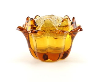 Viking Glass # 1507 - Honey Amber Artichoke Flowerlite with Combination Flower/Candle Block