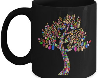 Tree Mug Colorful Pixel Ceramic Coffee Mug - Black