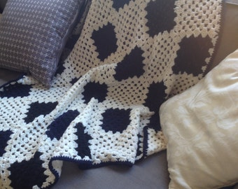 Baby Blanket in Navy-Blue, Black and White