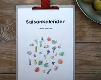 Season calendar for fruit, vegetables and salad