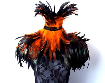 Feather epaulettes. Large black and amber feather shoulder pads and feather neck corset set. 'Burnished Amber'