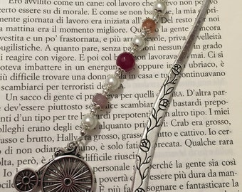 Tibetan silver bookmark with monocycle, white pearls and pink glass stones