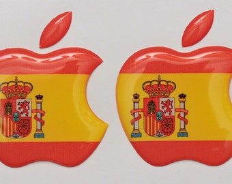 2x3D Domed SPAIN flag/Apple logo stickers for iPhone, iPad cover.Size 35x30mm