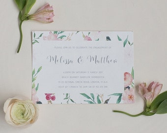 Pretty Floral Engagement Party Invitation - Tropical Summer Engagement Invite - Floral Wedding Stationery