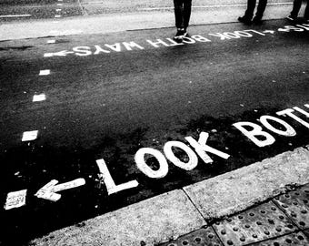 London photography, street photography, London crossing,  fine art photography, road, crossing, look left, look right