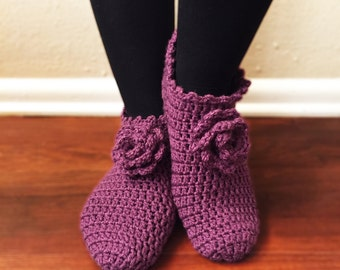 Purple Knitted Slippers with Purple Flowers, House Shoes, Traditional Turkish Patik, Handmade, Knit