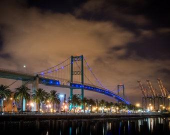Photograph - Vincent Thomas Bridge - San Pedro - Los Angeles - Night Shot - Long Exposure