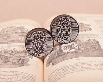 plugs - gauges - Joy Division - engraved plugs - custom gauges - wood earrings - wooden piercing - organic plugsear gauges - ear plugs