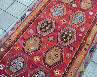 Large Turkish kilim rug. Vintage Kilim. Turkish kilim rug. Free shipping. 11.7 x 5.7 feet.