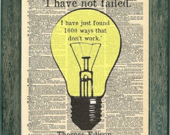 Thomas Edison quotes print artwork. Thomas Edison bulb invention print. Vintage print.