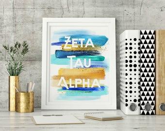 Zeta Tau Alpha Fraternity - ZTA -  8x10 Wall Art - Big/Little Gifts - Sorority Wall Art, Sorority Gifts, Greek Life Wall Art, ZTA Artwork