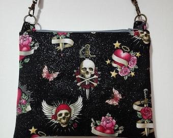 Skulls glitter bag messenger bag skulls tattoo tattoo heart bag, black and sheathed glitter to give rock and roll pinup