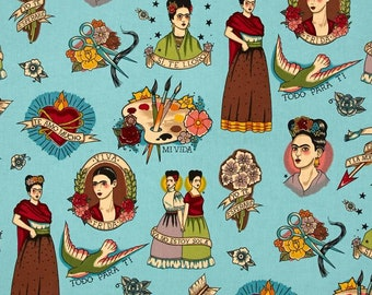 Everything for ti turquoise Alexander Henry fabric for patchwork fabric cotton fabric for dress Frida Kahlo Mexican tattoo old scool Frida