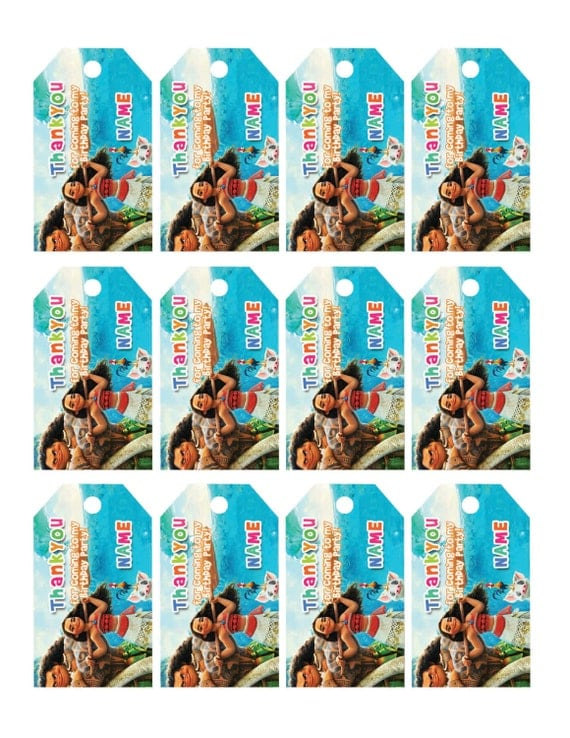 Moana Thank You Tags, Moana Birthday Favor Tags, Moana Party Tags, Moana Favor Tag, Moana Thank ...
