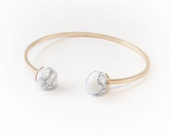 Minimal Gold Bracelet ,  Geometric Gold Bracelet , Minimalist Gold Jewelry , Marble Gold Jewelry Bracelet , Marble Sphere Bracelet