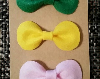 Medium felt bows, spring colors bows. Round hair bows. Set of 3 bows, fits all sizes bows