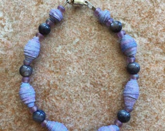 Recycled purple paper bead bracelet with dumortierite, glass beads, and a magnetic clasp