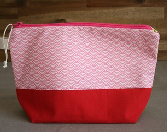 Pink and green project bag, zipper, for knitting or crochet