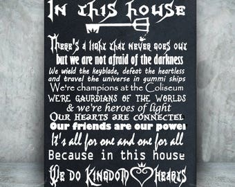 Kingdom Heart Custom Canvas - In this house, we do Kingdom Hearts - We do geek - Kingdom Hearts art - Geek chic - Geek decor - Geekery