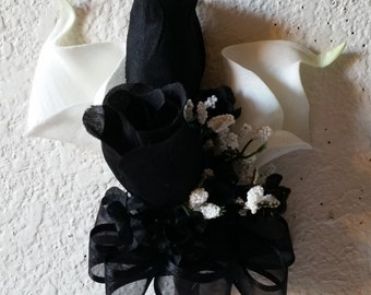 Ivory Calla Lily Black Rose Corsage or Boutonniere