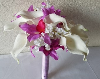 Ivory Calla Lily Lavender Orchid Bridal Wedding Bouquet & Boutonniere