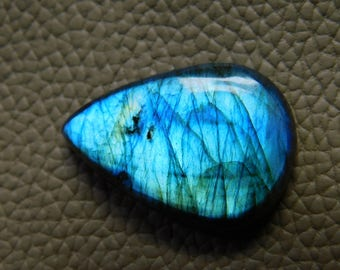 Natural Blue Labradorite Cabochon Loose Gemstone 24.00 Cts  20X28 MM Approx Pear Shape Blue Power Gemstone .