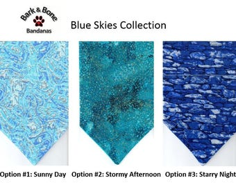 Blue Skies Collection |  Dog Bandana | Blue Dog Bandana | Pet Bandana | Over the Collar Bandana