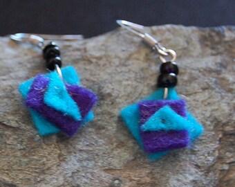 boiled wool blue triangle earrings