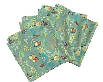 Green Floral Dinner Napkins - Birds and Butterflies by susan polston - Amarela Cloth Cotton Napkins (Set of 4) by Roostery with Spoonflower