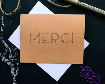 Merci - Thank You - Blank Thank You Card - Handmade