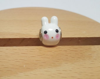 Rabbit Glasscharm by Urinamu (Eropean Charm for Bracelet : Available in both Pandora and trollbeads's bangle)