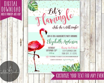 Let's Flamingle Bridal Shower Invitation, Bachelorette Party Invite, Baby Shower, Birthday Party - Printable DIY