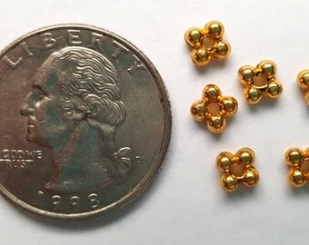 5mm gold finish lead/nickel free daisy spacer beads