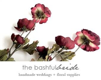 Marsala flowers, artificial flowers, marsala, silk flowers, ranunculus, silk flower arrangement, silk bouquet, silk flower wedding