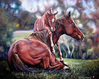Oil painting on canvas, Horse Oil Painting, Horses Painting, Hosre Oil On Canvas, Horse portrait, Fine Art, Horses, Art realism, Animal